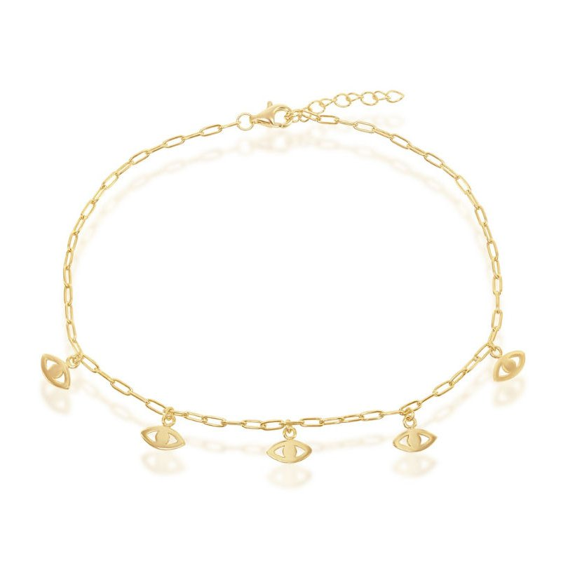 Fashion Jewelry Collection 14k Yellow Gold Plated Sterling Silver Evil Eye Charms Paper Clip Style Link Chain Anklet