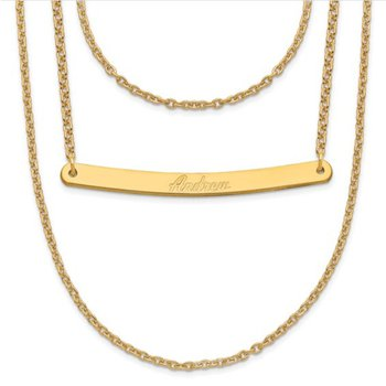 """14k Gold Personalized 1 to 3 Brushed Finish Name Bars each with 18""""x1mm Cable Chain Necklace"""