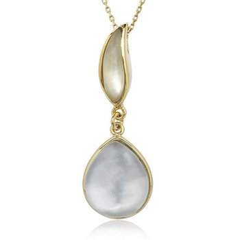 """- Simona Sterling Silver 14k Yellow Gold Plated Doublet Mother-of-Pearl and Lemon Quartz Pendant Necklace - 17"""""""