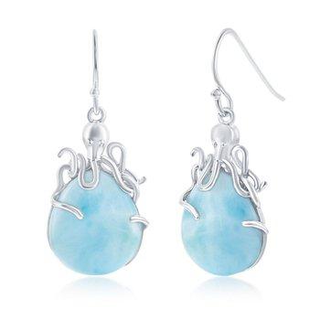 - Caribbean Treasures Sterling Silver Larimar Gemstones Octopus Fishhook Dangle Drop Earring Pair