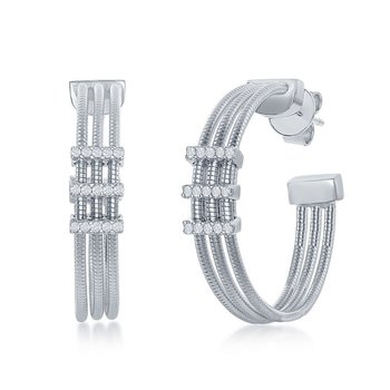 - Italian Collection CZ Stones Platinum Bonded Sterling Silver Hoop Earring Pair