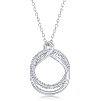 Sterling Silver Micro Pave CZ and High Polish Circle Twist Pendant Necklace