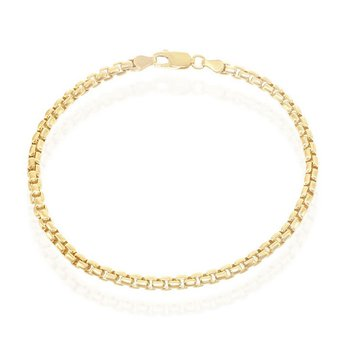 - Sterling Silver 14k Yelow Gold Plated 3mm Round Box Chain Bracelet/Necklace for Men or Women