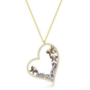 Sterling Silver White & Pink & Blue CZ Heart & Butterflies Pendant Chain Necklace