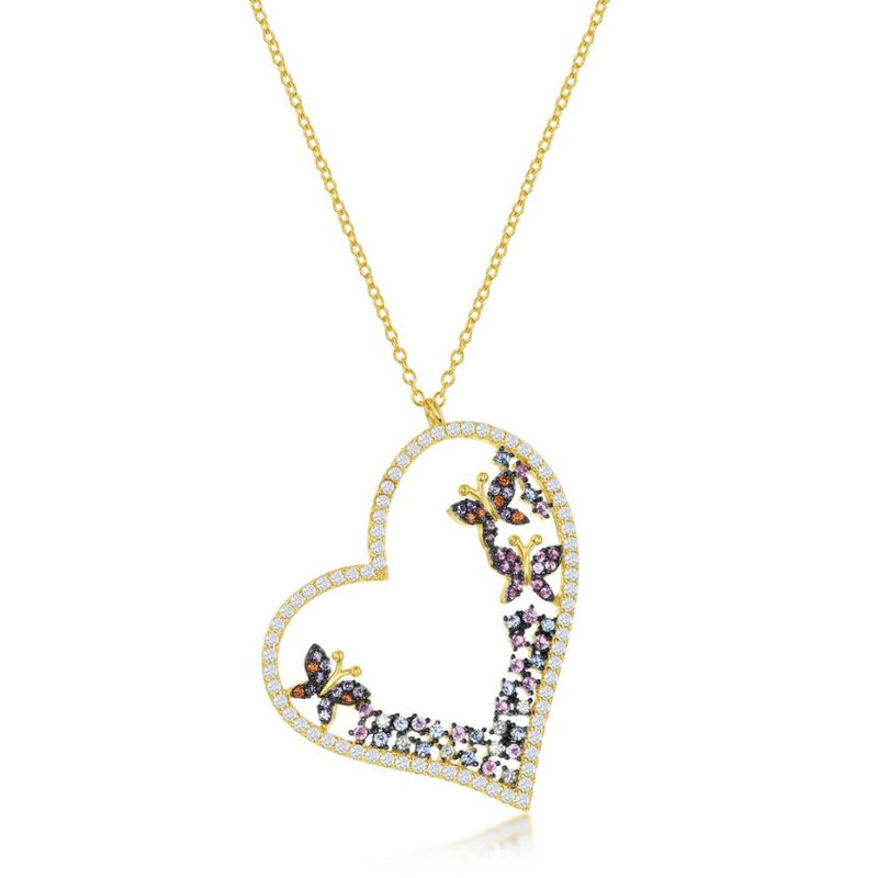 Fashion Jewelry Collection Sterling Silver White & Pink & Blue CZ Heart & Butterflies Pendant Chain Necklace