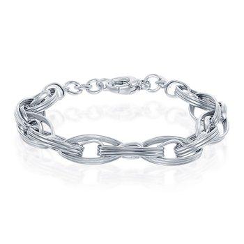 "- Bella Moda Sterling Silver Marquise Shaped Link Chain Bracelet - 8"""