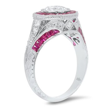- French Cut Ruby Hexagon Halo and Diamond Semi-Mount Ring