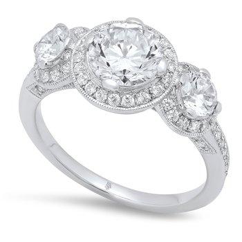 - Three Stone Halo Accented Semi-Mount Diamond Engagement Ring