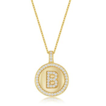 """- Sterling Silver 14k Yellow Gold Plated Micro Pave Set Round CZ Stones Letter Initial Circle Pendant with 18"""" Chain"""