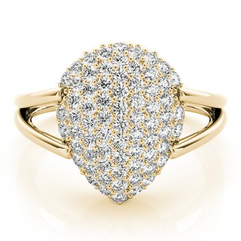 - 0.50ctw. Diamond Pave Cluster Pear Shaped Ring