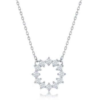 Sterling Silver CZ Circle Chain Necklace
