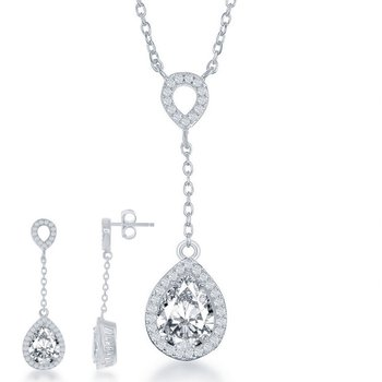 - Sterling Silver Pear and Round CZ Stones Halo Drop Down Teardrop Necklace and Earrings Set