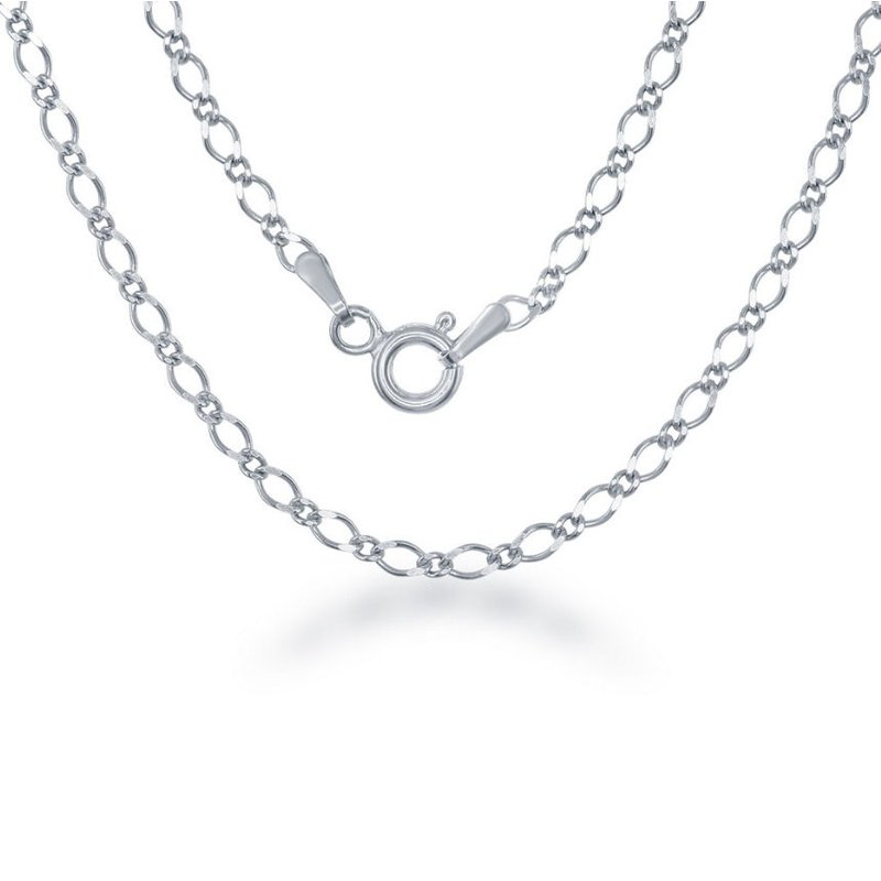Fashion Jewelry Collection Sterling Silver 3mm Fancy Link Chain Necklace