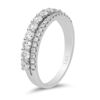 - 14k White Gold Double Row Round Diamonds Stackable Wedding Anniversary Band Ring