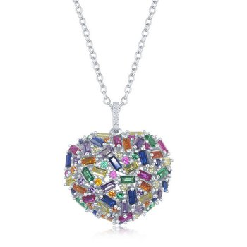 """- Sterling Silver Multi-Color Rainbow CZ Puffed Heart Pendant Necklace - 16"""""""