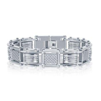 """- Stainless Steel White Carbon Fiber Link Bracelet for Men - 8.50"""""""