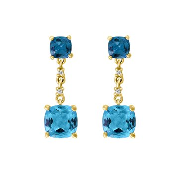 - 14k Yellow Gold Diamond and 2.47Ctw. Swiss Blue Topaz Gemstone Dangle/Drop Earrings