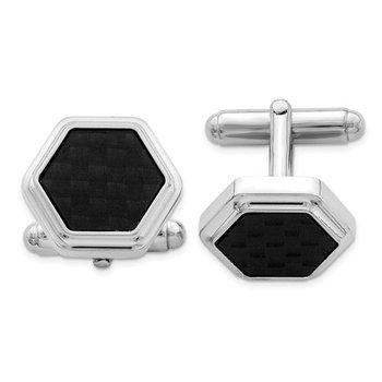 Sterling Silver Hexagon Black Carbon Fiber Made in Italy Men's Cufflinks