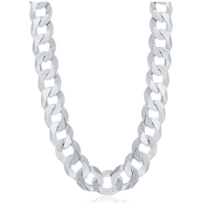 Fashion Jewelry Collection  - Sterling Silver 13.8mm Cuban Chain Bracelet/Necklace for Men