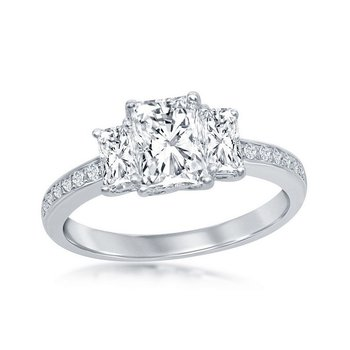 Sterling Silver 3-Stone CZ Accented Engagement Ring