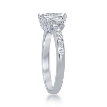 - Sterling Silver 3-Stone CZ Accented Engagement Ring