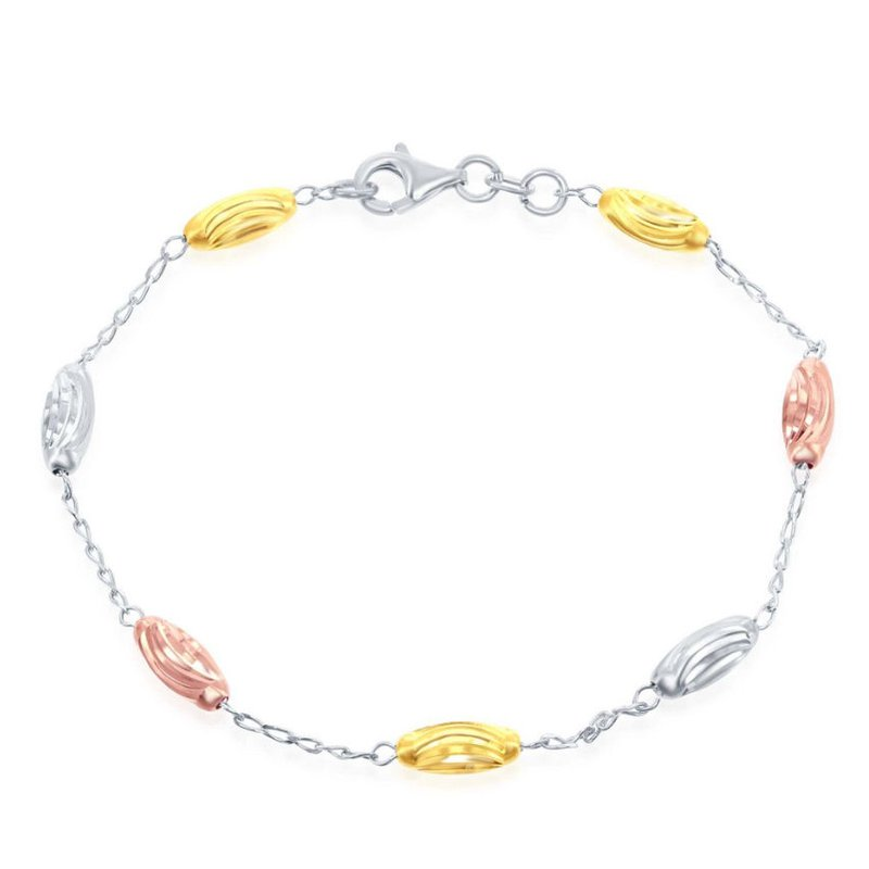 Fashion Jewelry Collection Sterling Silver Diamond Cut Oval Moon Bead Chain Station Anklet/Bracelet/Necklace