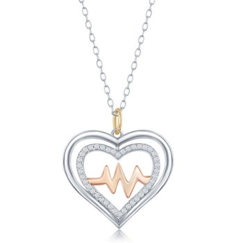 Sterling Silver Shiny and CZ Open Heart & Center Heartbeat Pendant Chain Necklace
