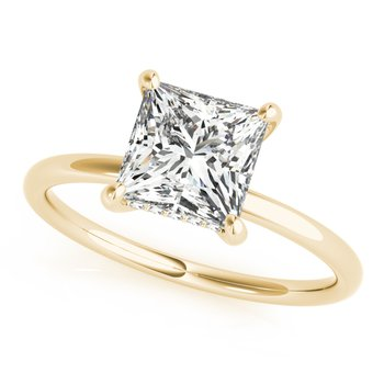 Solitaire Princess Square Shaped Diamond Accented Engagement Ring