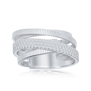 - Italian Collection CZ Stones Platinum Bonded Sterling Silver Ring Band