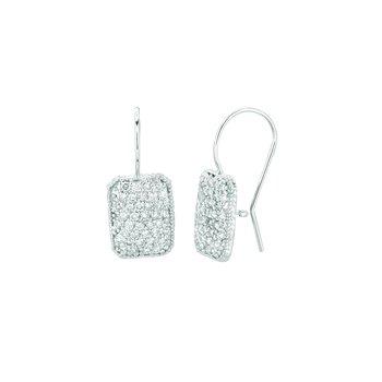 14K White Gold 1.22ctw. Diamond Rectangular Shape Fishhook Drop Earrings