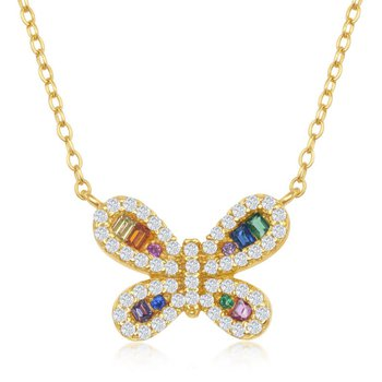 """Sterling Silver Multi-Color Rainbow and White CZ Butterfly Necklace - 16"""""""