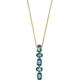 - 14k Yellow Gold 7.58Ctw. London Blue Topaz Gemstone Chain Pendant