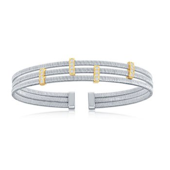 - Italian Collection CZ Stones Sterling Silver w/14k Gold Plated Bars Triple Wire Bangle Cuff Bracelet