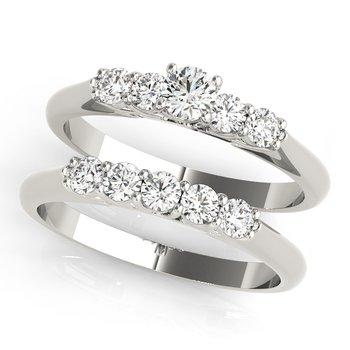 - Round Accented Diamond Promise Engagement Ring and Wedding Band Set