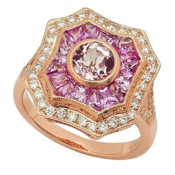 - Vintage Style Diamond & Pink Sapphire Sides and Round Morganite Center Cocktail Ring