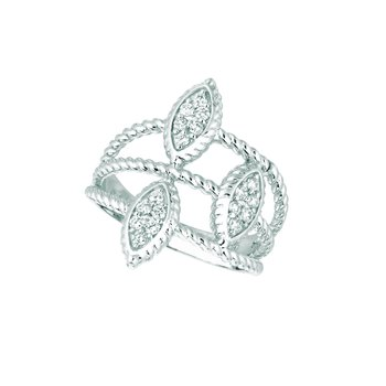 14K White Gold 0.27ctw. Diamond Marquise Cluster Negative Space Cocktail Anniversary Band Ring