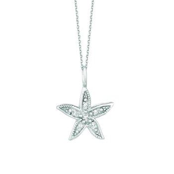 "14K White Gold 0.04ctw. Diamond Starfish Pendant 16"" Chain Necklace"