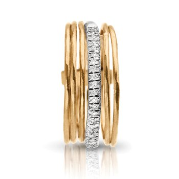 1/8ct. Diamond 14k Yellow Gold Stackable Italian-Inspired Right Hand Ring