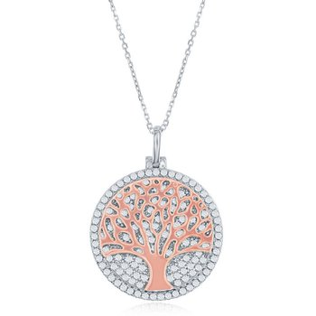 Sterling Silver Micro Pave CZ Disc with Center Tree of Life Pendant Chain Necklace