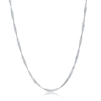 "Sterling Silver 2mm Singapore Adjustable Chain Necklace (14"" to 22"")"