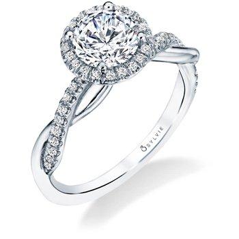 - Modern Diamond Halo Spiral Semi-Mount Engagement Ring