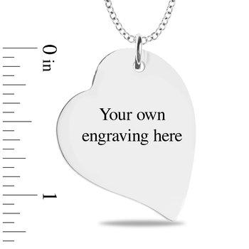 - Engravable Fingerprint 40mm Heart Customized Photo Picture Pendant