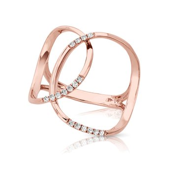 1/8ct. Diamond 14k Rose Gold Freeform Right Hand Ring