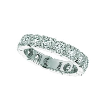14k White Gold Diamond Geometric Eternity Anniversary Wedding Band
