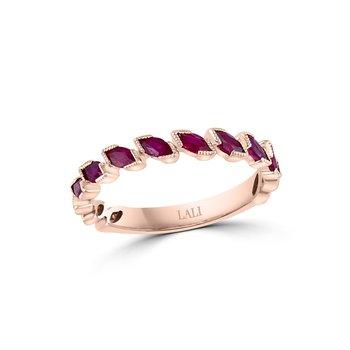 - 14k Rose Gold Ruby Gemstone Anniversary Band Ring