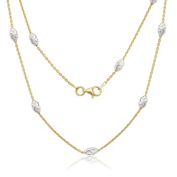 Sterling Silver Diamond Cut Oval Moon Bead Chain Necklace