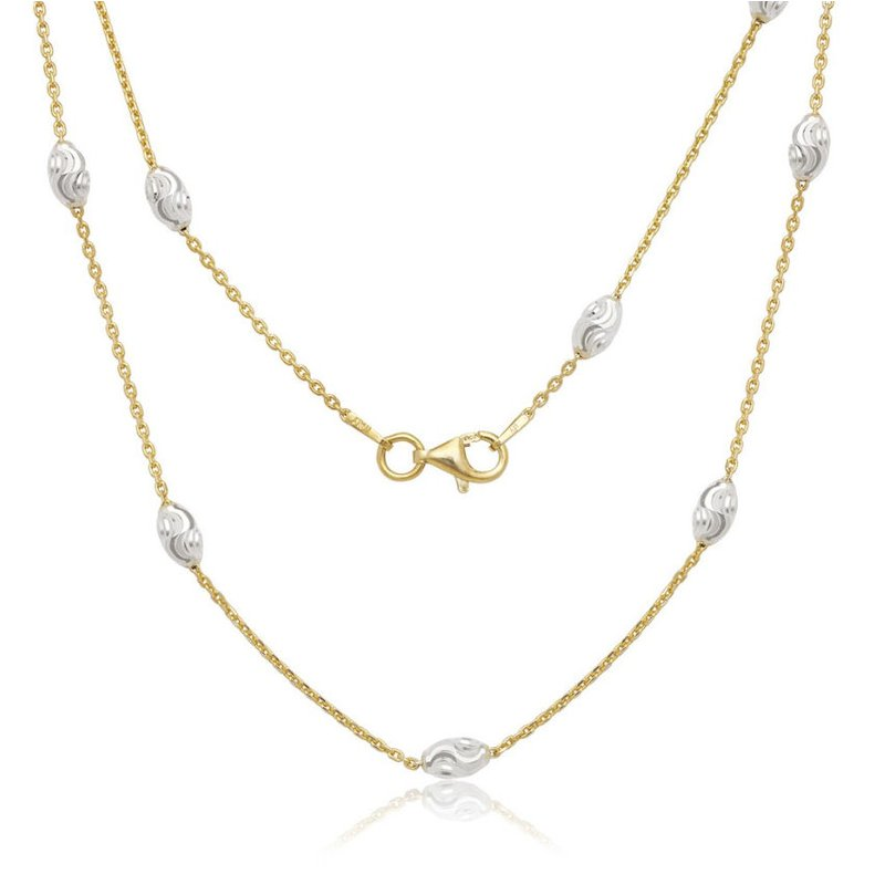 Fashion Jewelry Collection Sterling Silver Diamond Cut Oval Moon Bead Chain Necklace