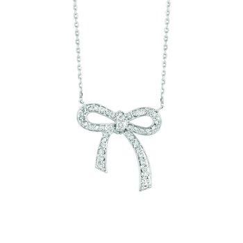 "14K White Gold 0.50ctw. Diamond Ribbon 16"" Chain Necklace"