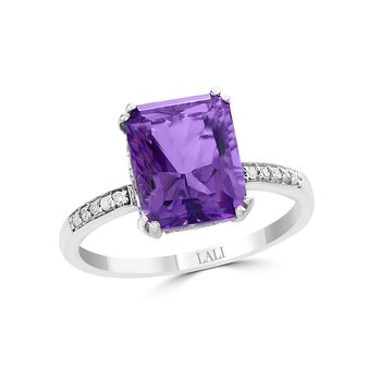 - 14k White Gold Diamond and 3.10Ct. Amethyst Gemstone Cocktail Ring