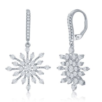 Sterling Silver CZ Snowflake Dangle/Drop Earrings Pair